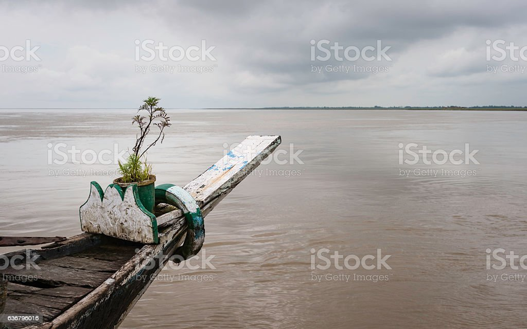 Brahmaputra river in flood during monsoon season. stock photo