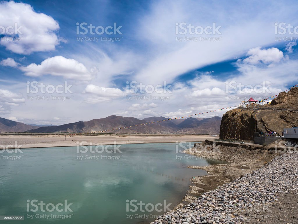 Brahmaputra River in Tibet,China stock photo