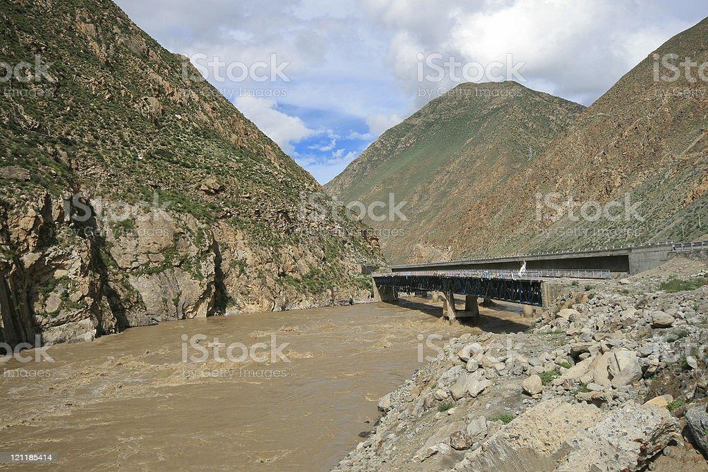 Brahmaputra river @Nyingchi, Tibet stock photo