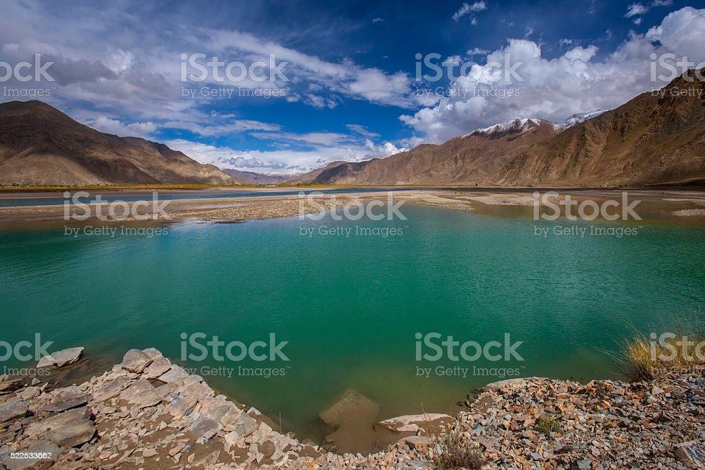Brahmaputra River - Tibet - China stock photo