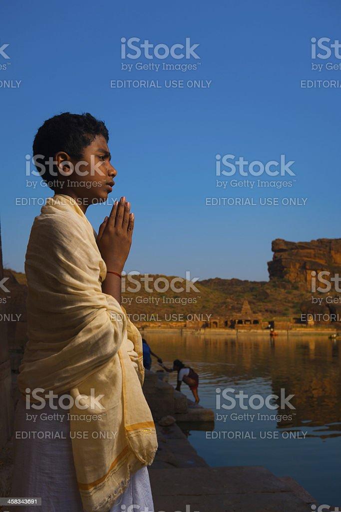 Brahmin Boy Priest Leading Puja Badami Temple stock photo
