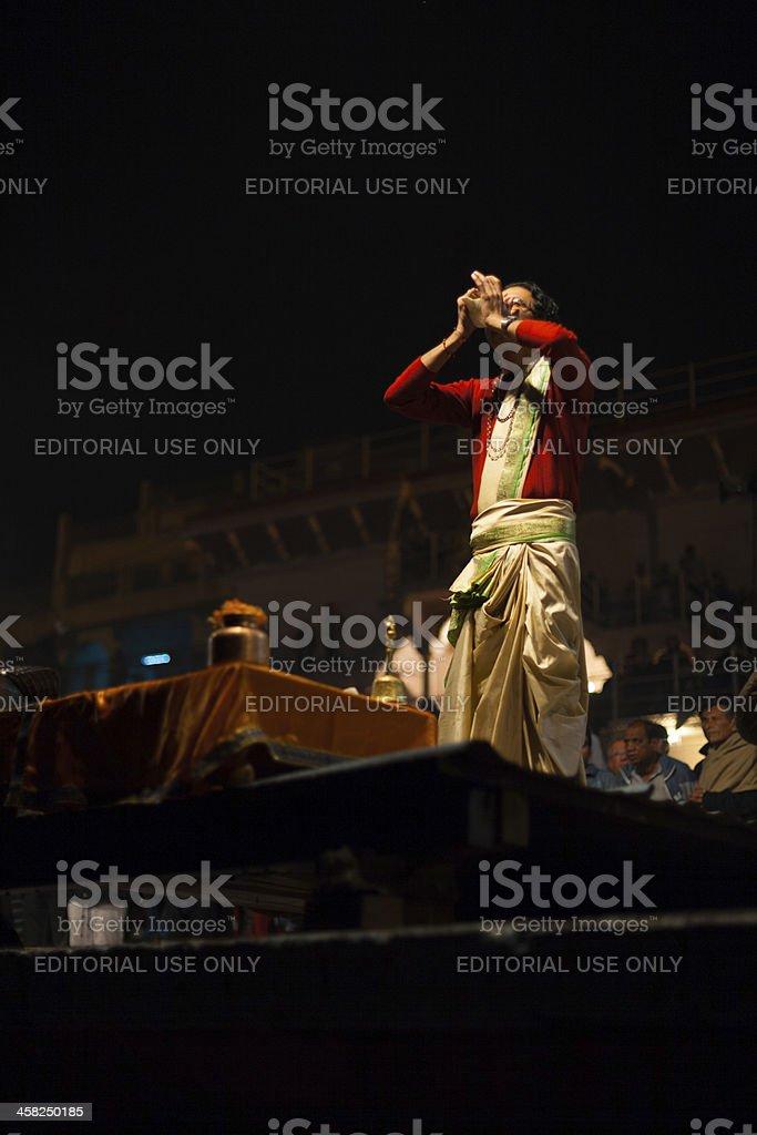 Brahmin Priest Blowing Conch Puja Varanasi Ghat royalty-free stock photo