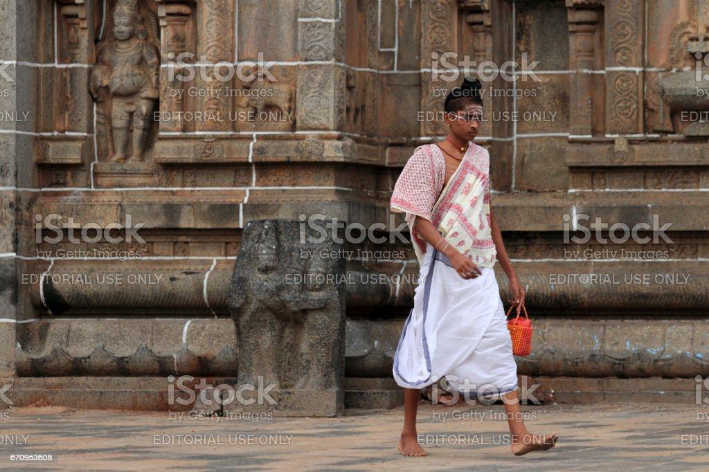 Brahmin priests of the Nataraja temple in Chidambaram stock photo