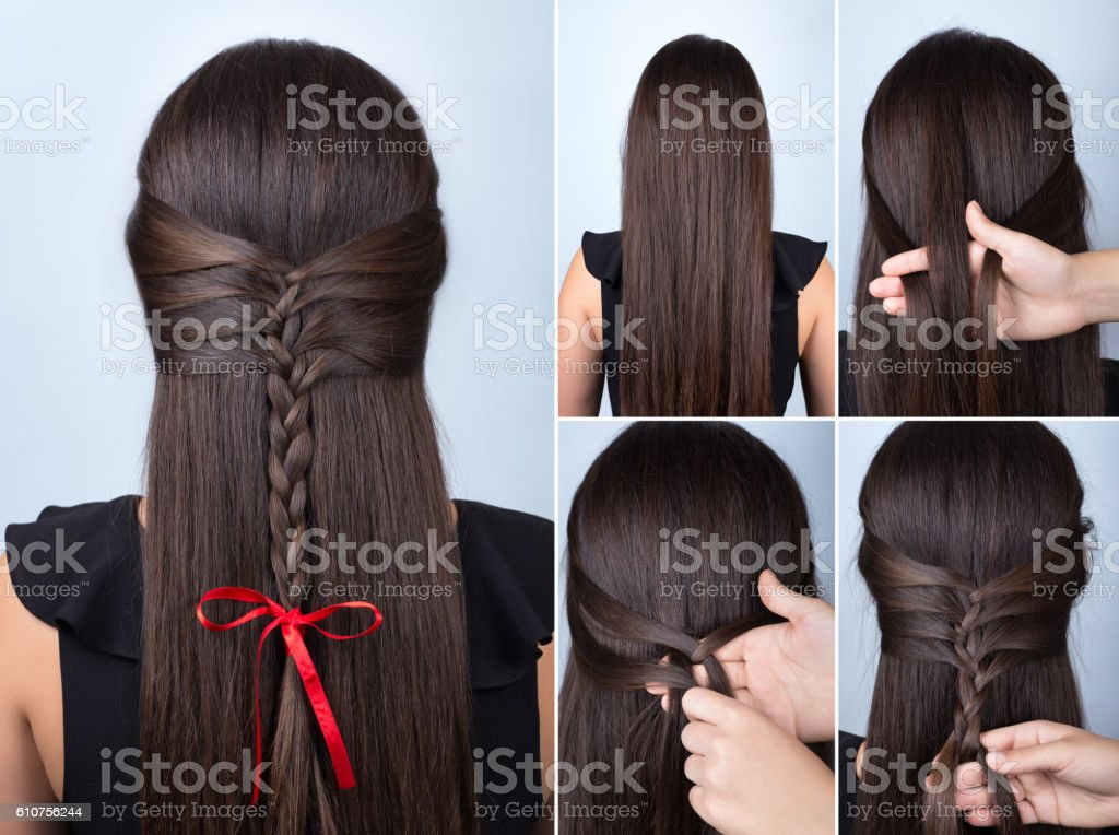 braid hairstyle for celebration new year tutorial stock photo