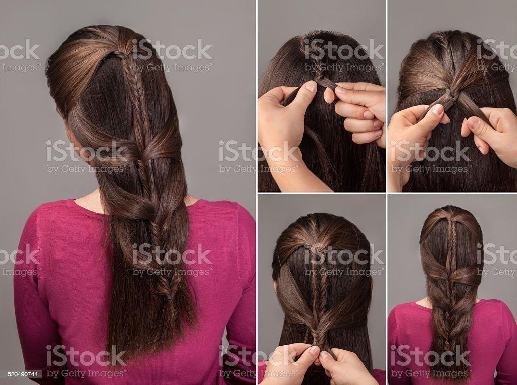 braid hairstyle tutorial stock photo