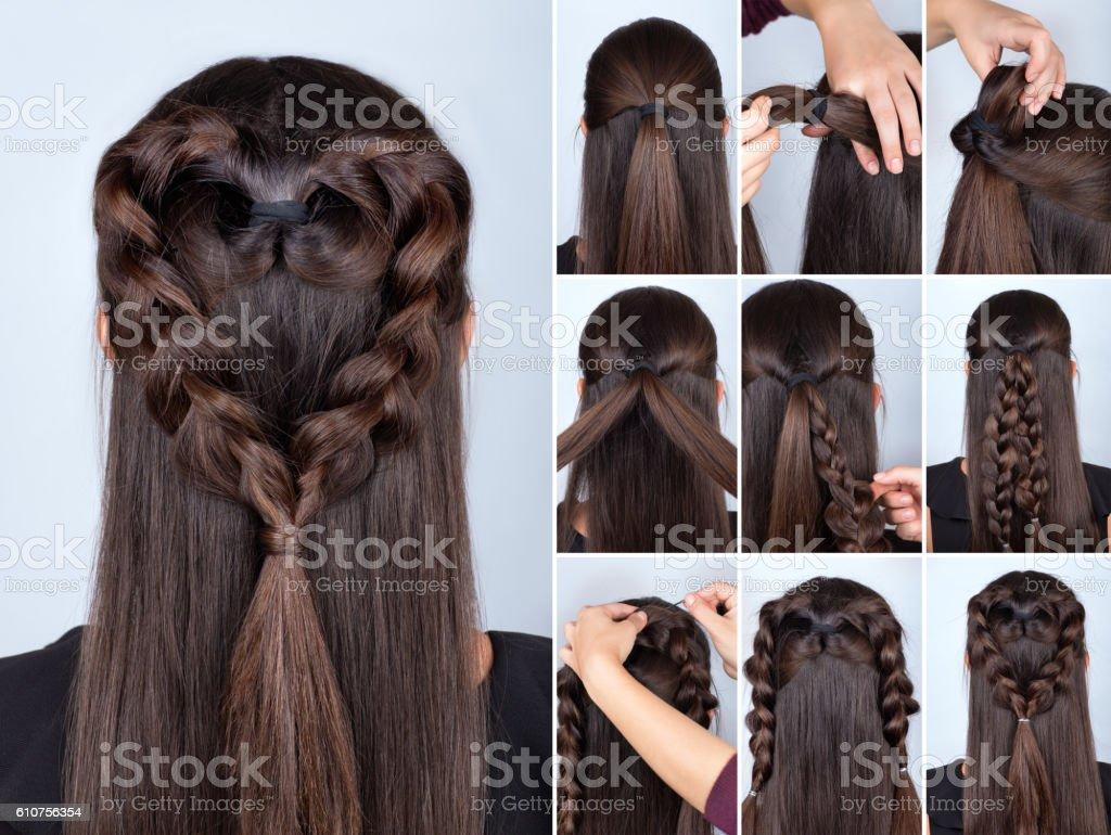 braid heart hairstyle tutorial stock photo