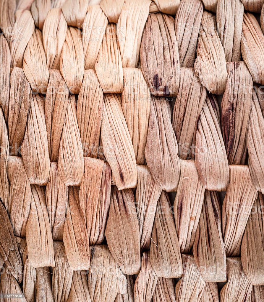 Braided basket close-up stock photo