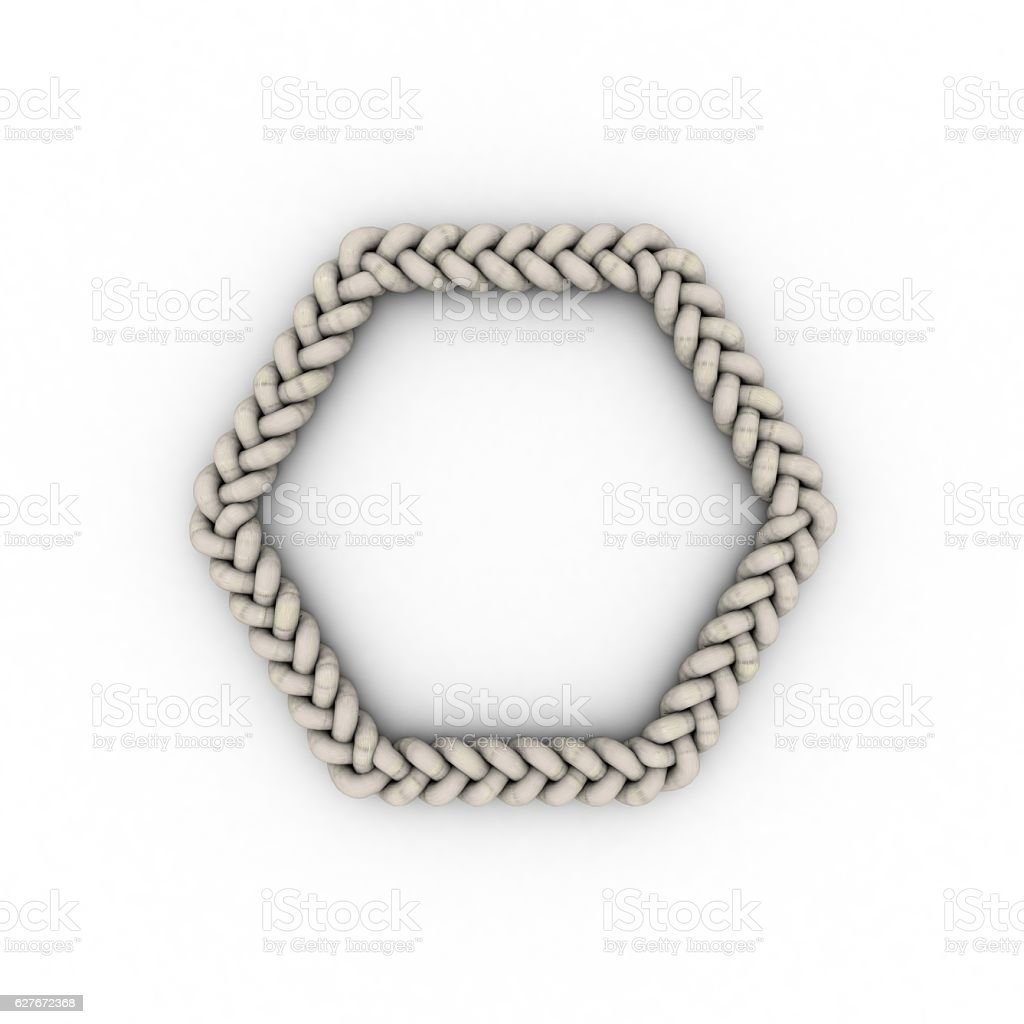 Braided frame in form of hexagon. Isolated on white background. stock photo