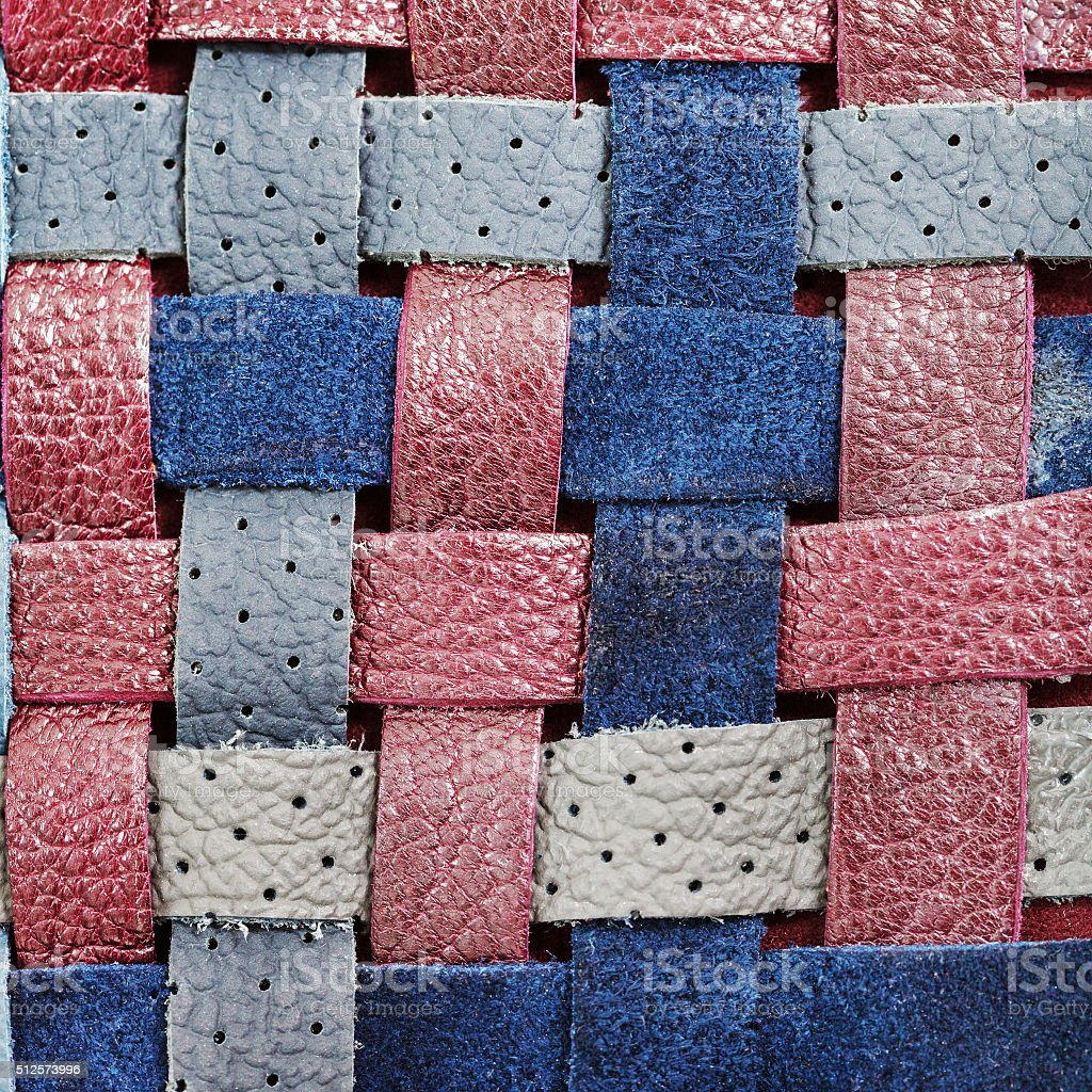 braided leather strips close up stock photo