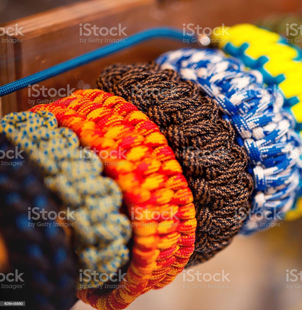 braided rope bracelet parachute cord stock photo