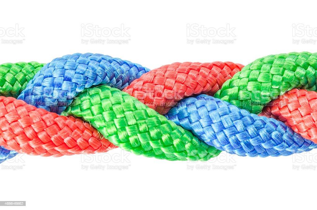 Braided ropes close up isolated on white stock photo