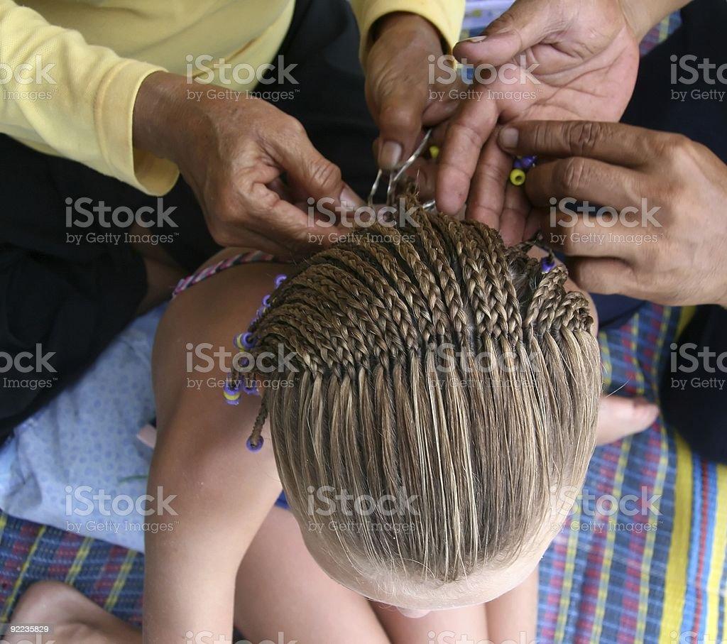 Braiding Hair royalty-free stock photo