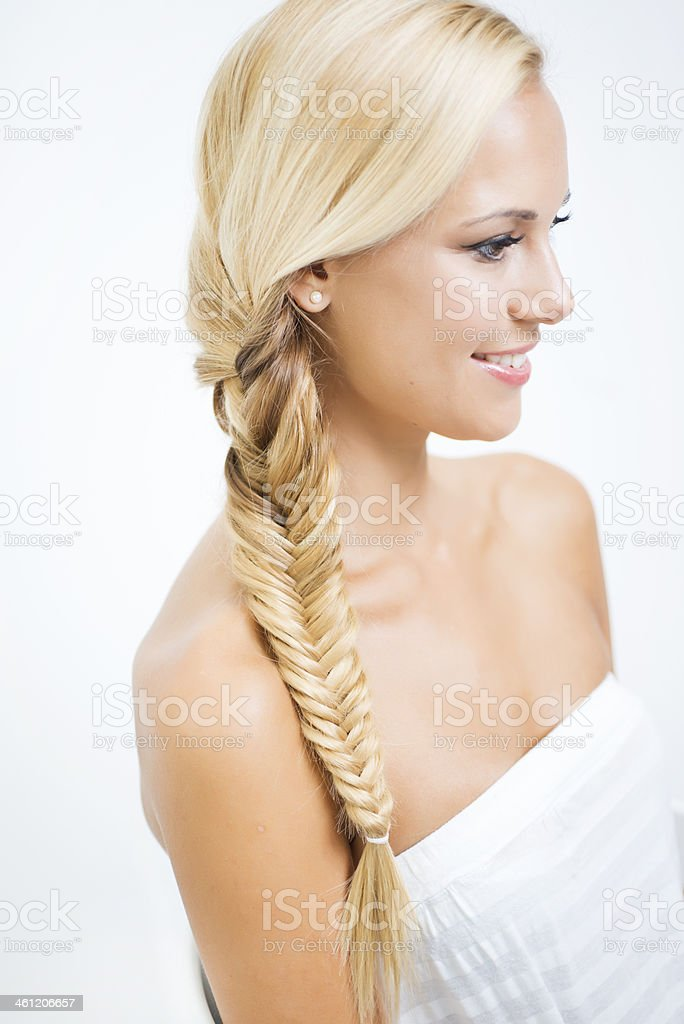 Braids in hair royalty-free stock photo