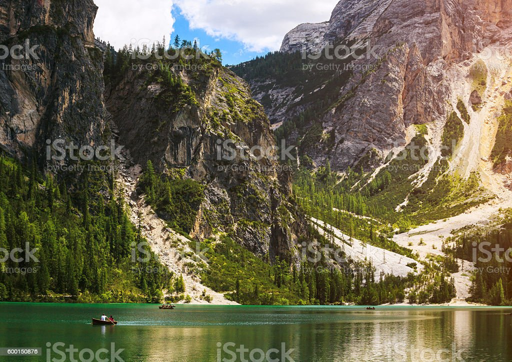 Braies Lake in Italy stock photo