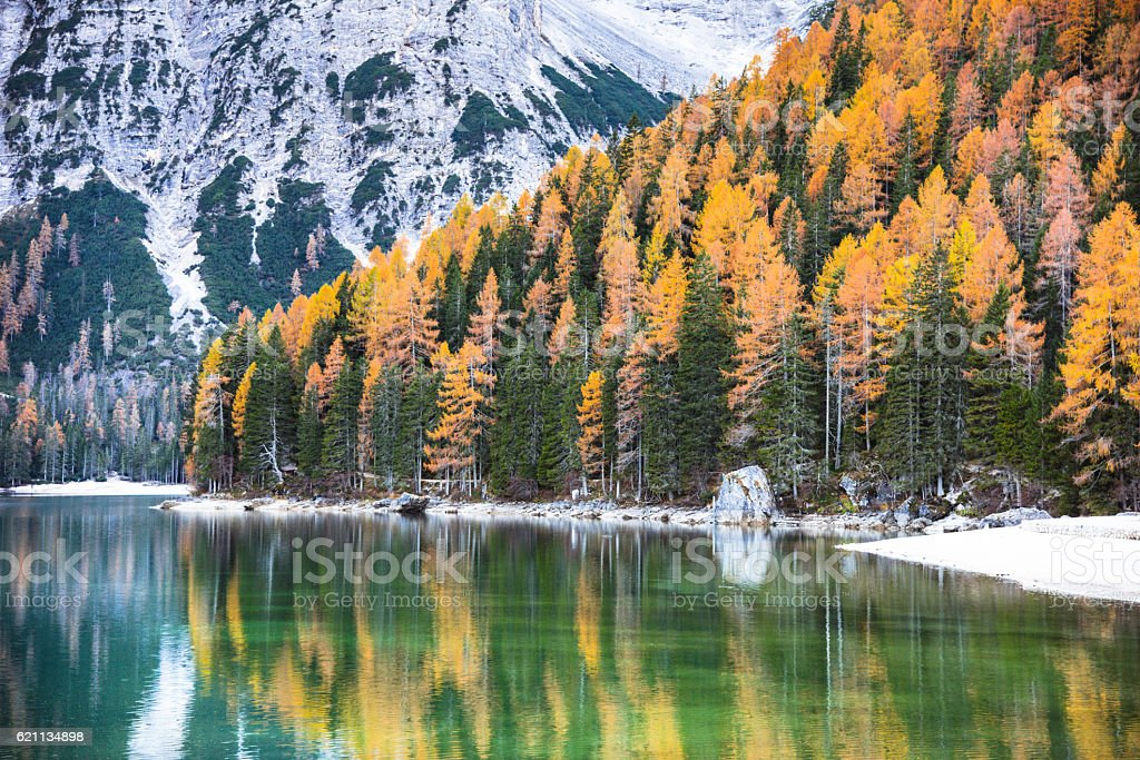 Braies lake in south tyrol alto adige stock photo