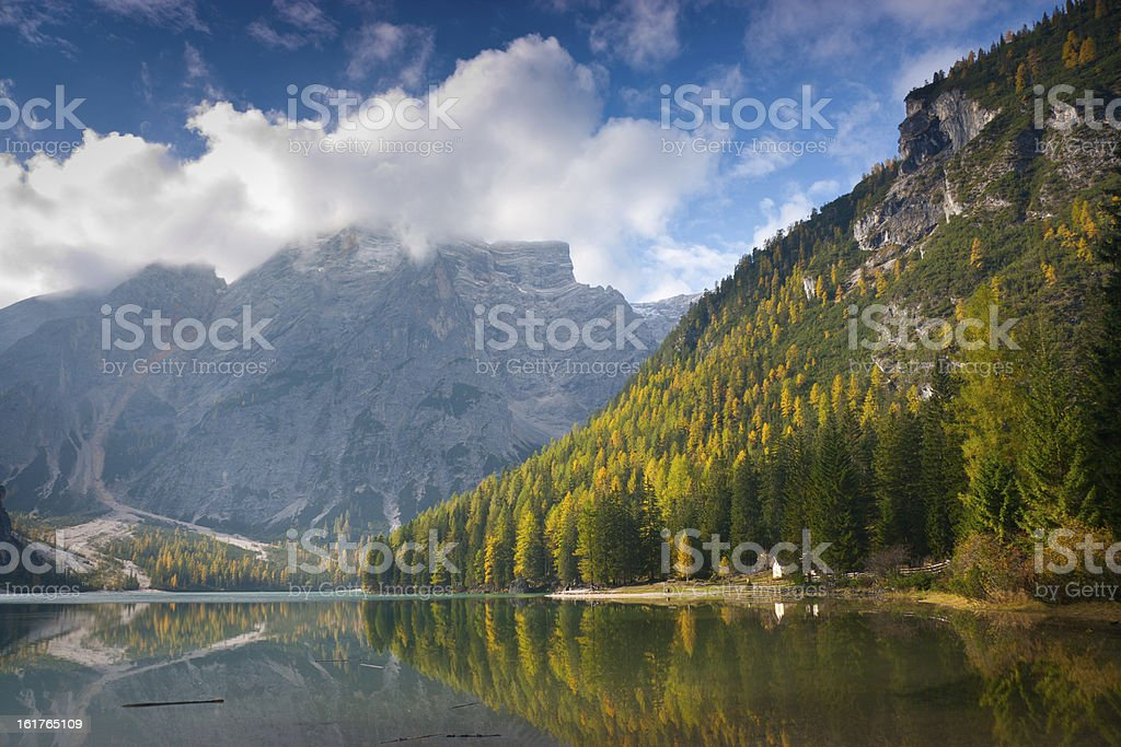 Braies lake royalty-free stock photo