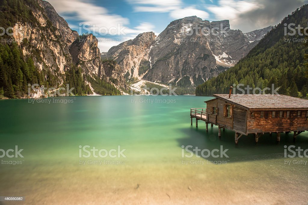 Braies lake stock photo