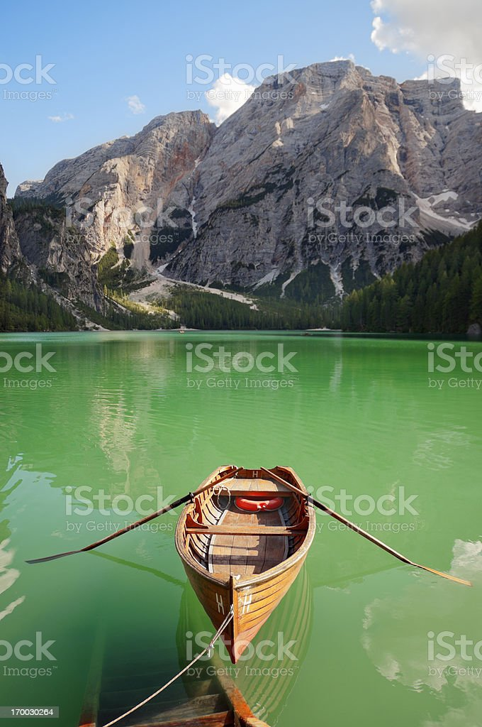 Braies Lake - Pragser Wildsee stock photo