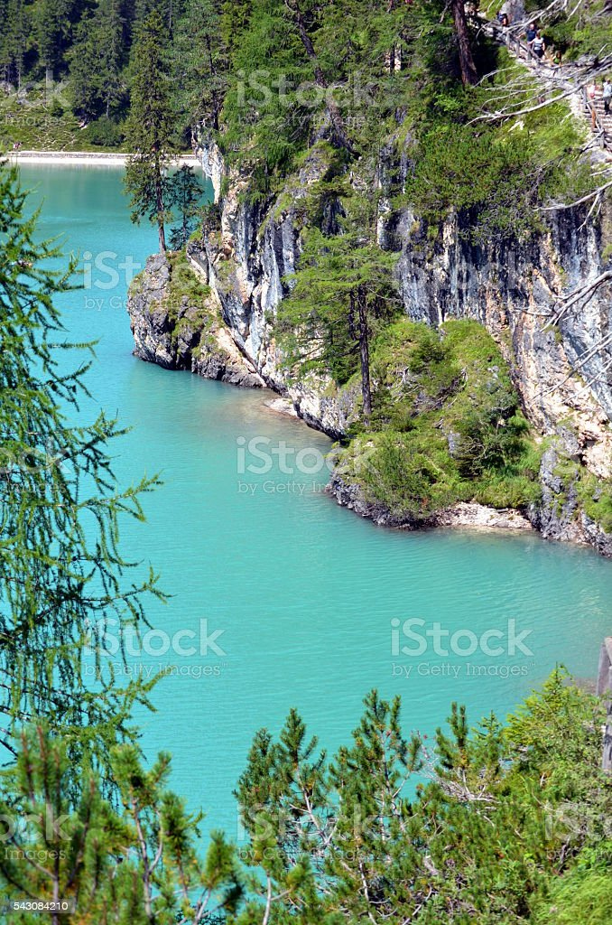 Braies Lake situated in the dolomite Italy stock photo