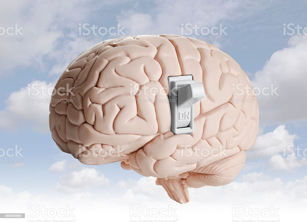 A brain and a light switch symbolizing brain power stock photo