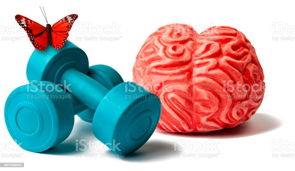 Brain and Exercice with Butterfly stock photo