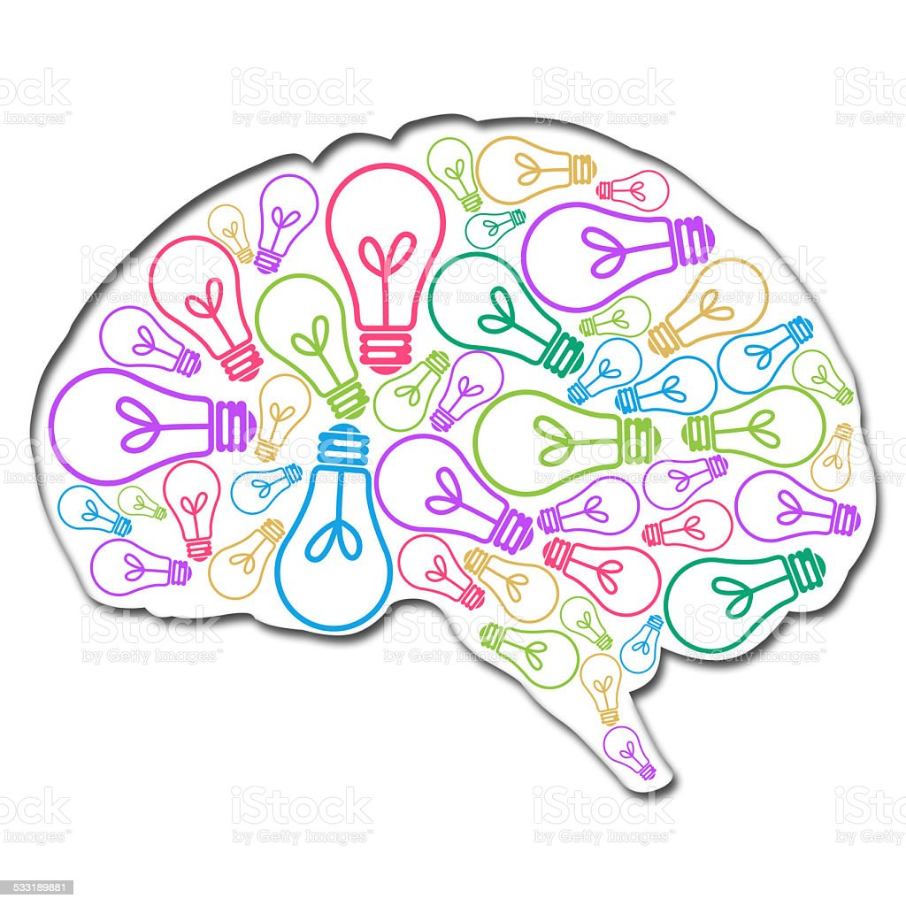 Brain Filled With Ideas Colorful stock photo