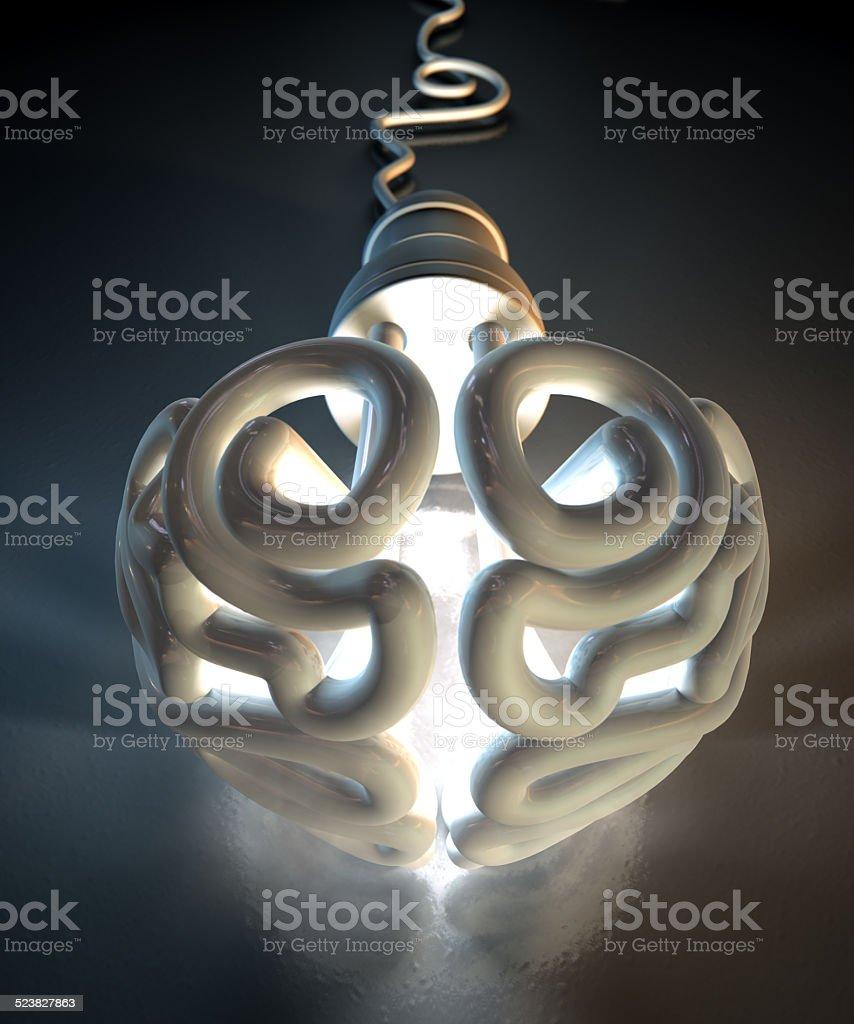 Brain Flourescent Light Bulb stock photo