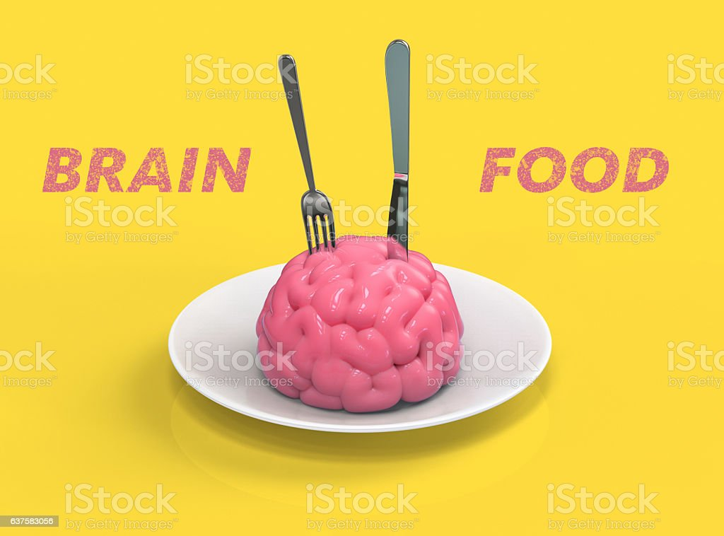 Brain food 3D illustration stock photo