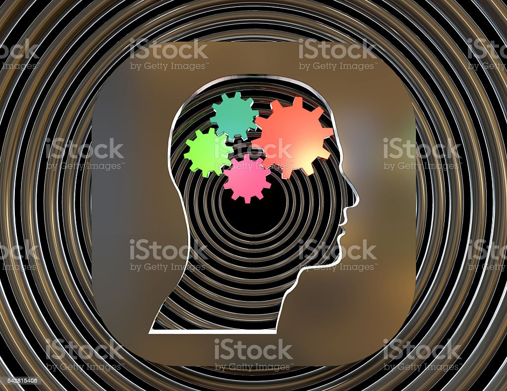 Brain gears in human head shape stock photo