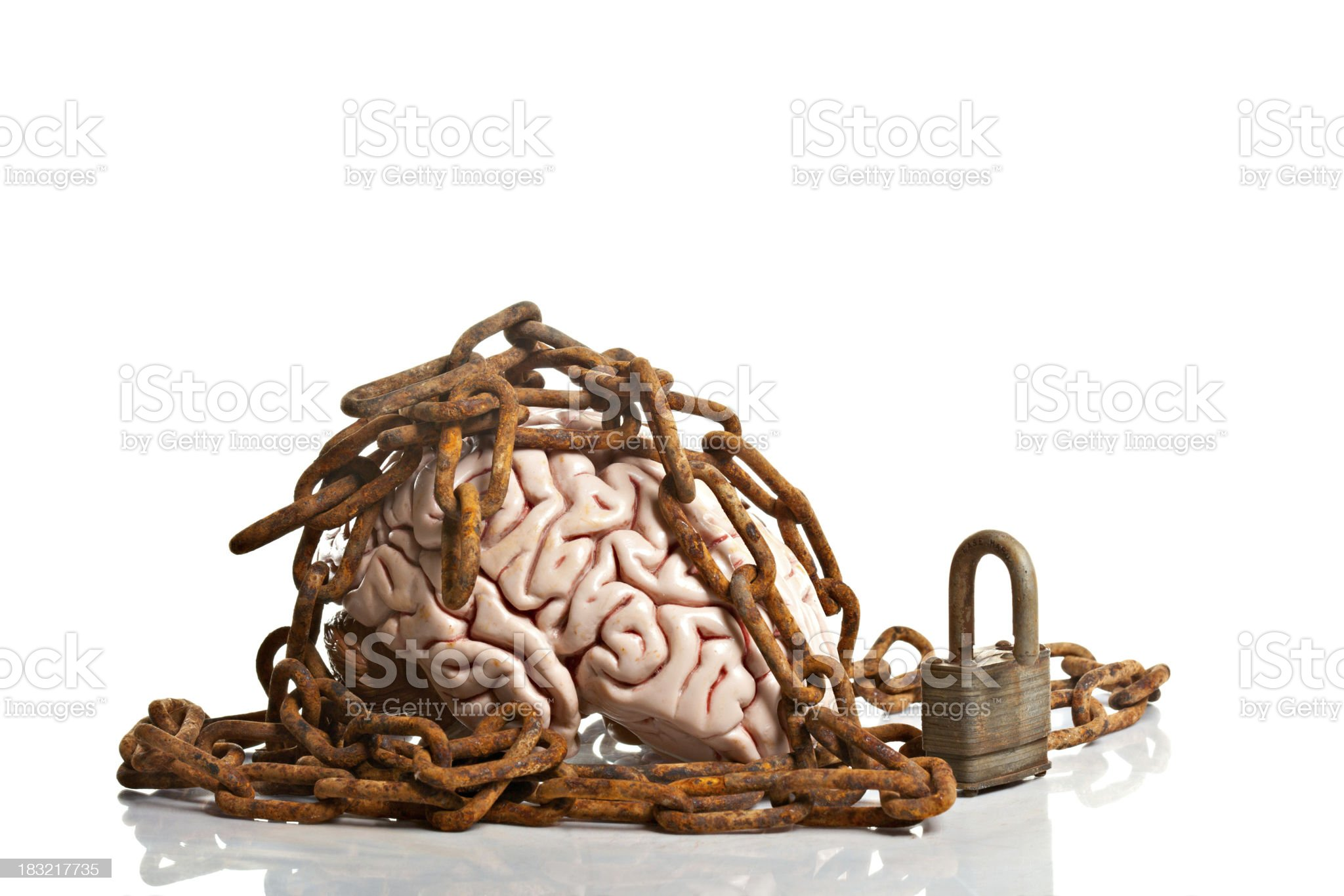 Brain In Chains Represents A Closed Mind royalty-free stock photo