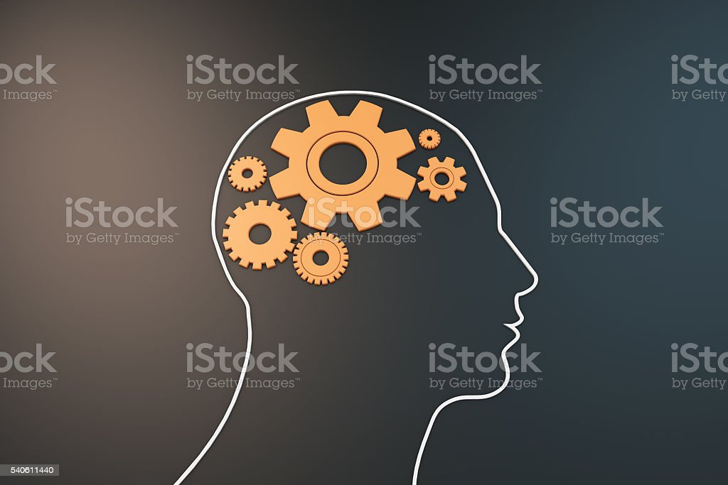Brain in gear stock photo