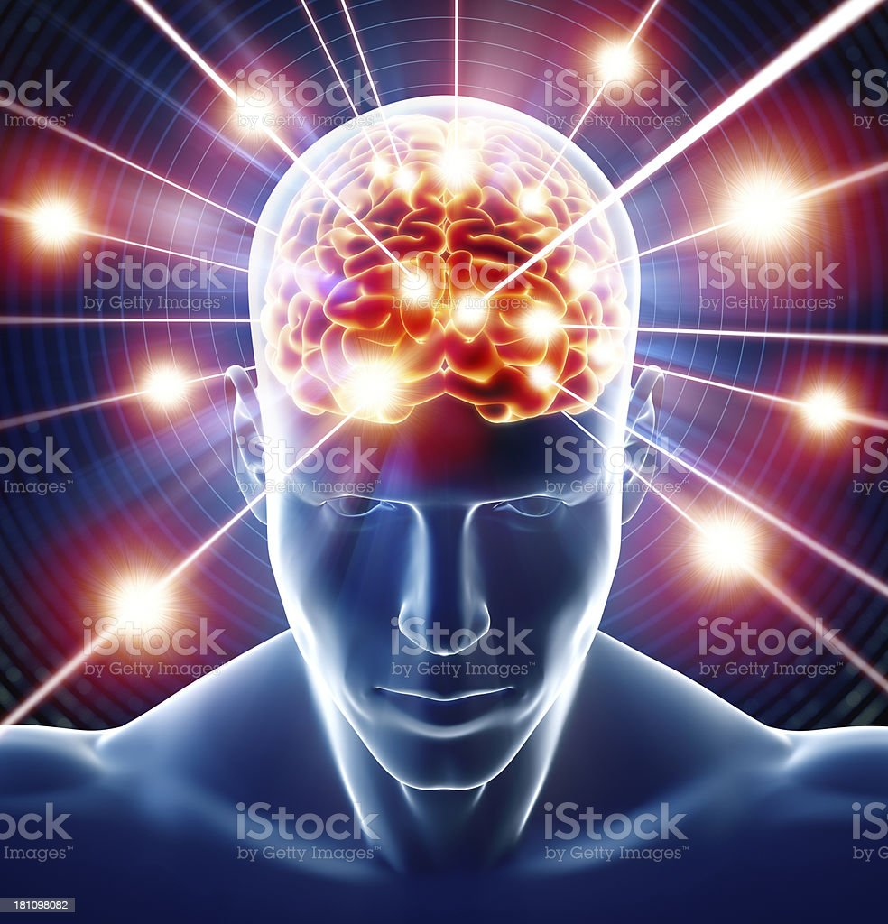 Brain in head receiving rays of information stock photo