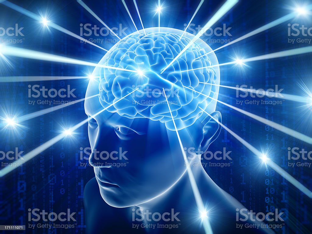 Brain in head with hi-tech cyber theme stock photo