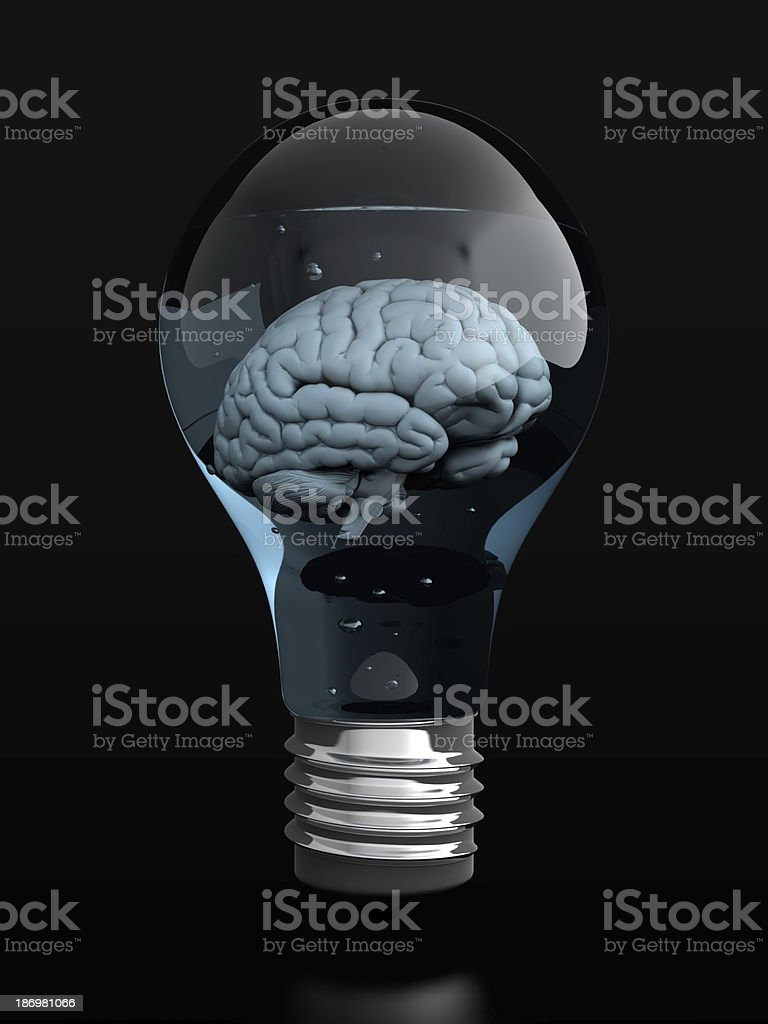 Brain in light bulb stock photo