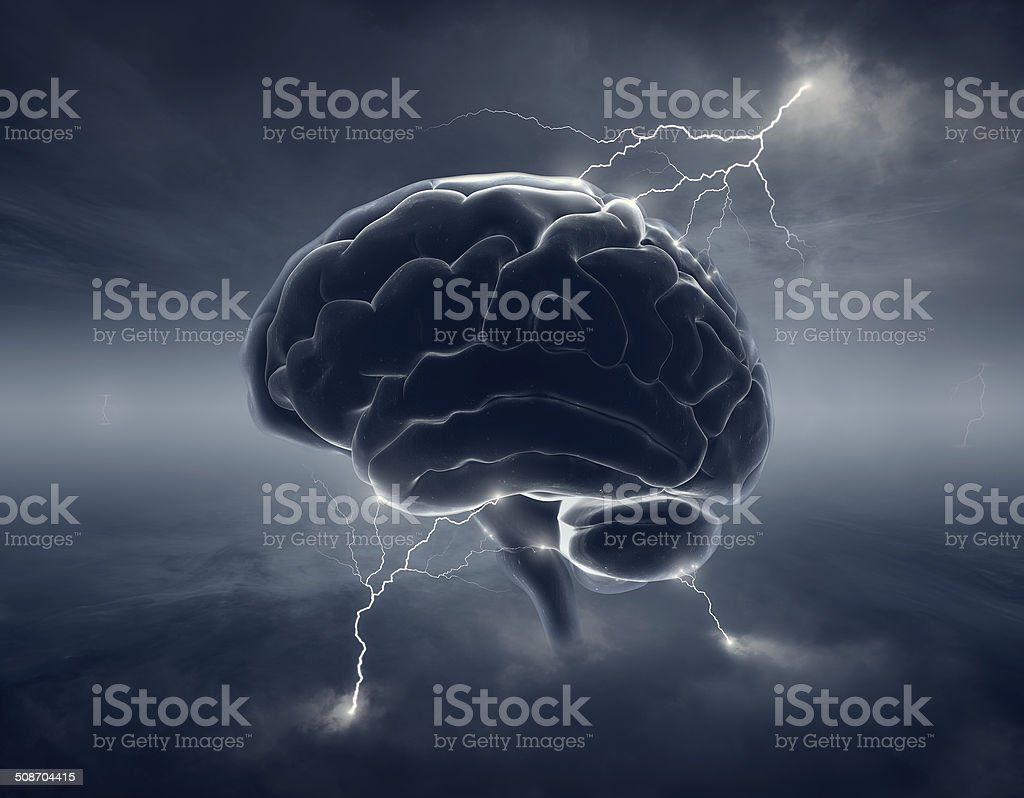 Brain in stormy clouds - conceptual brainstorm stock photo