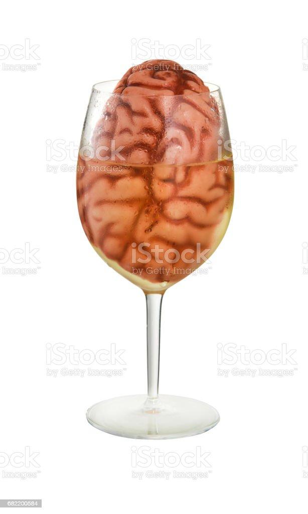Brain in Wine Glass stock photo