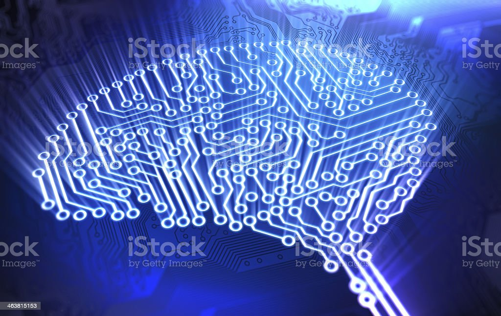 Brain made out of circuits stock photo