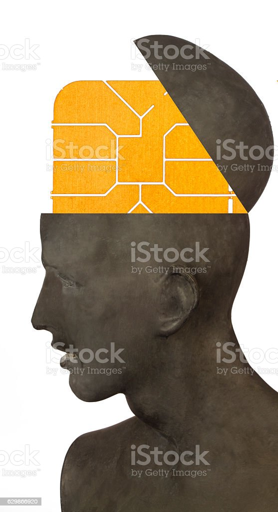 Brain Micro Chip stock photo