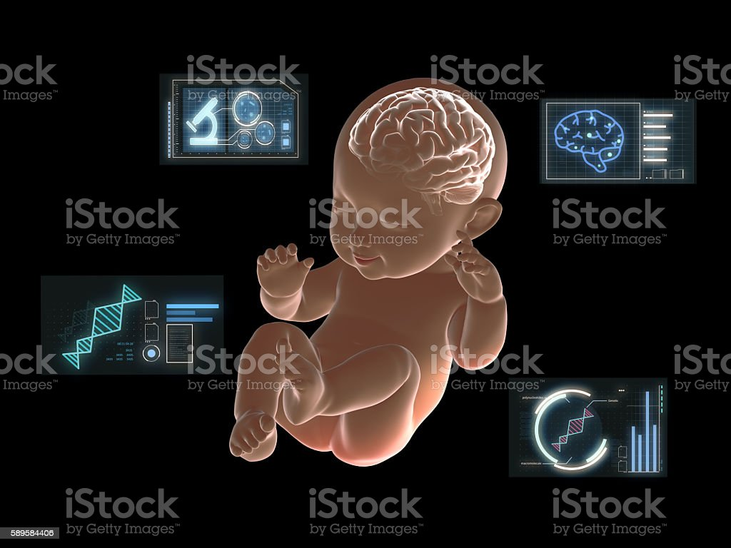 Brain of baby x-ray graphic with graphics research on screen stock photo