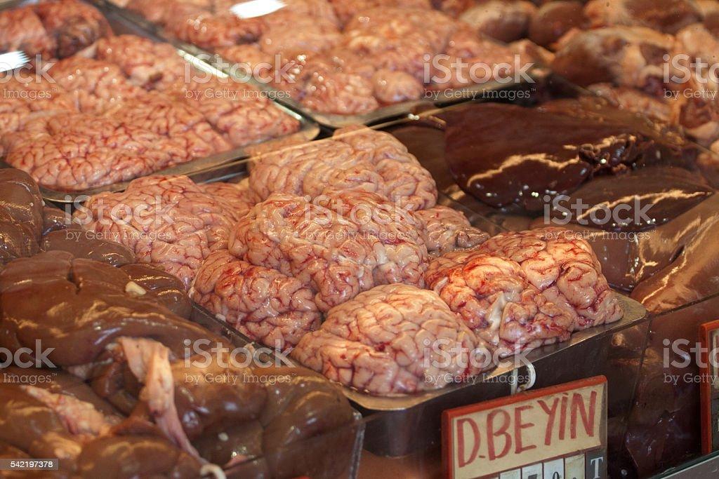 brain seen in a istanbul butcher stock photo