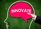 INNOVATE / BRain shape green board concept (Click for more)