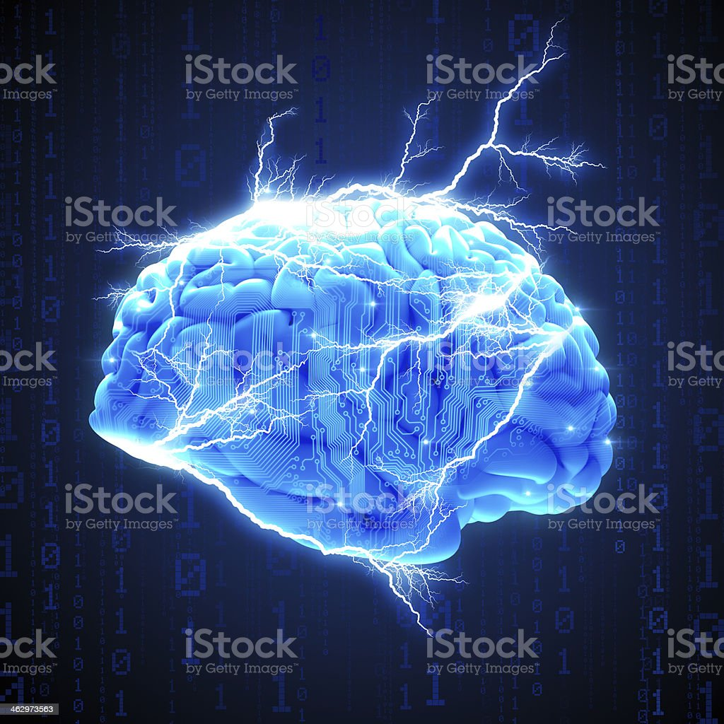 Brain with circuits and electricity royalty-free stock photo