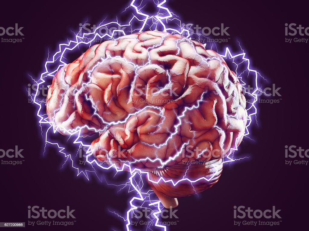 Brain with lightnings, brainstorm concept stock photo