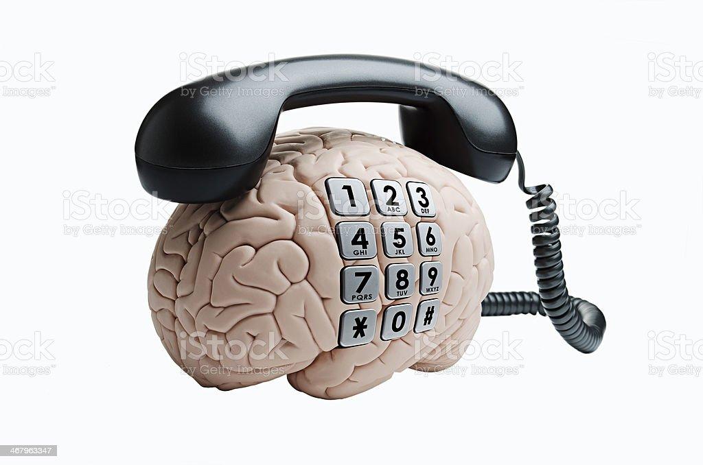 Brain with phone stock photo