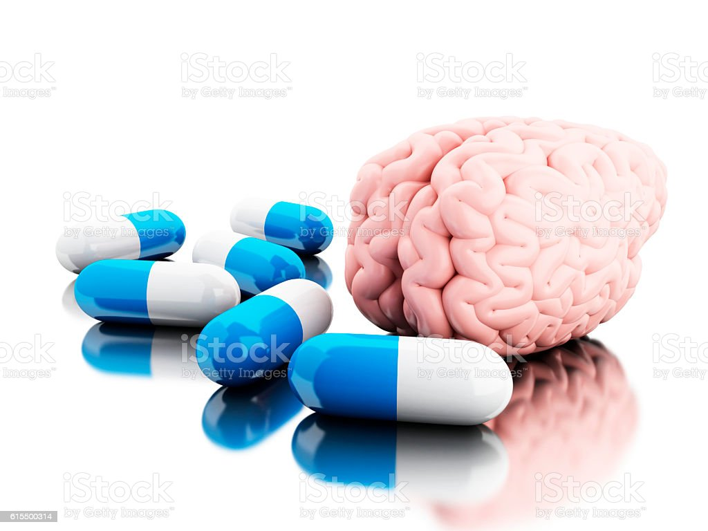 3D A brain with some pills. stock photo