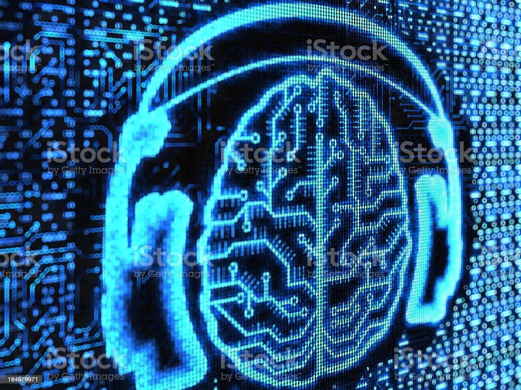 brains in headphones stock photo
