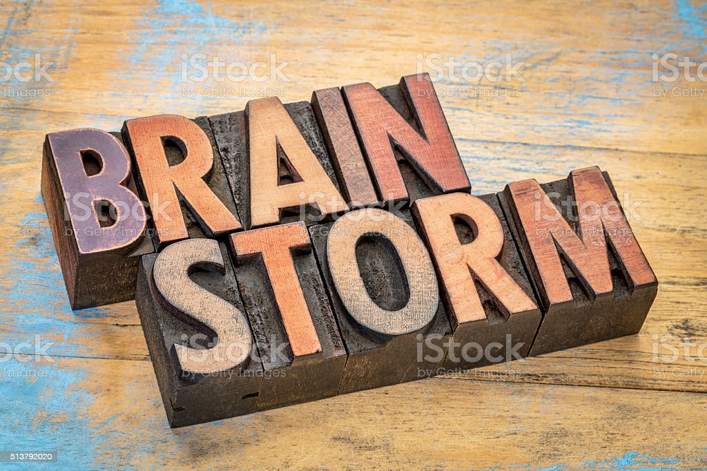 brainstorm word in wood type stock photo
