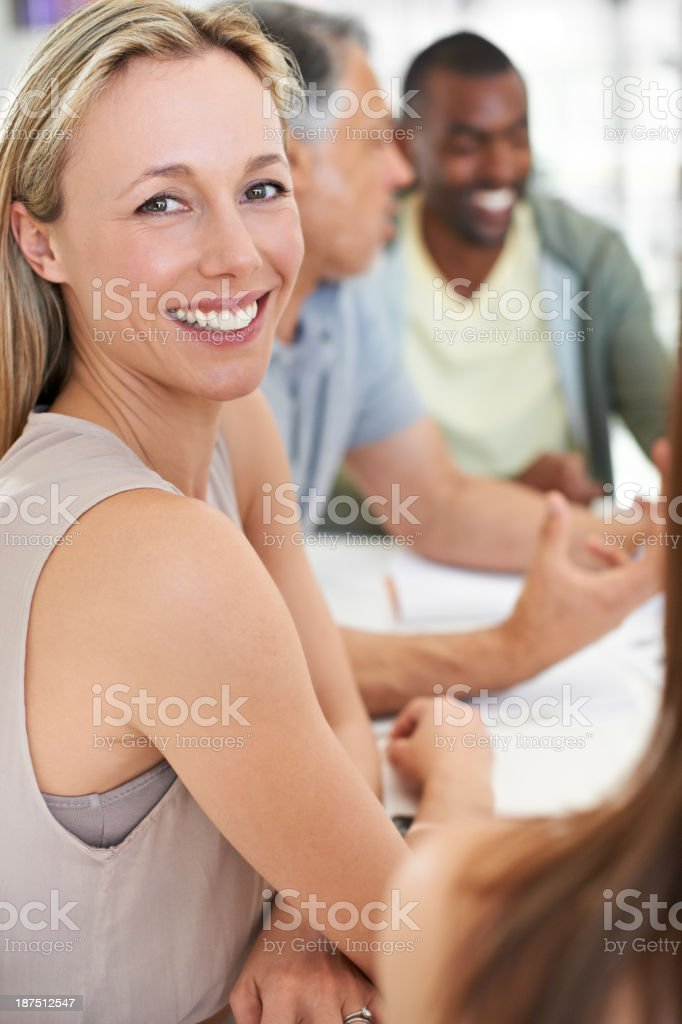 Brainstorming around the boardroom table royalty-free stock photo