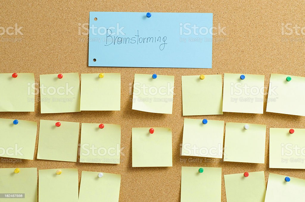 Brainstorming concept with sticky notes royalty-free stock photo