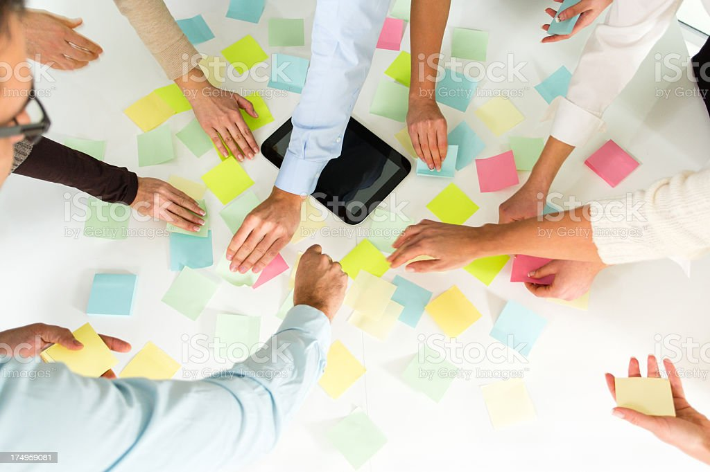 Brainstorming ideas with adhesive notes royalty-free stock photo
